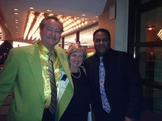 "Tom ""Bones"" Malone (trombone), TBCAF Board President Susan Lester and Frank Greene (trumpet)"
